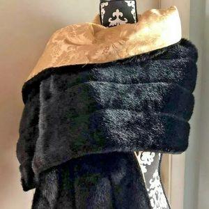 IMAN Faux Fur Reversible Black Gold Shawl Wrap NWT